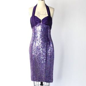 1970s Vintage Sequin Silk Halter Cocktail Dress